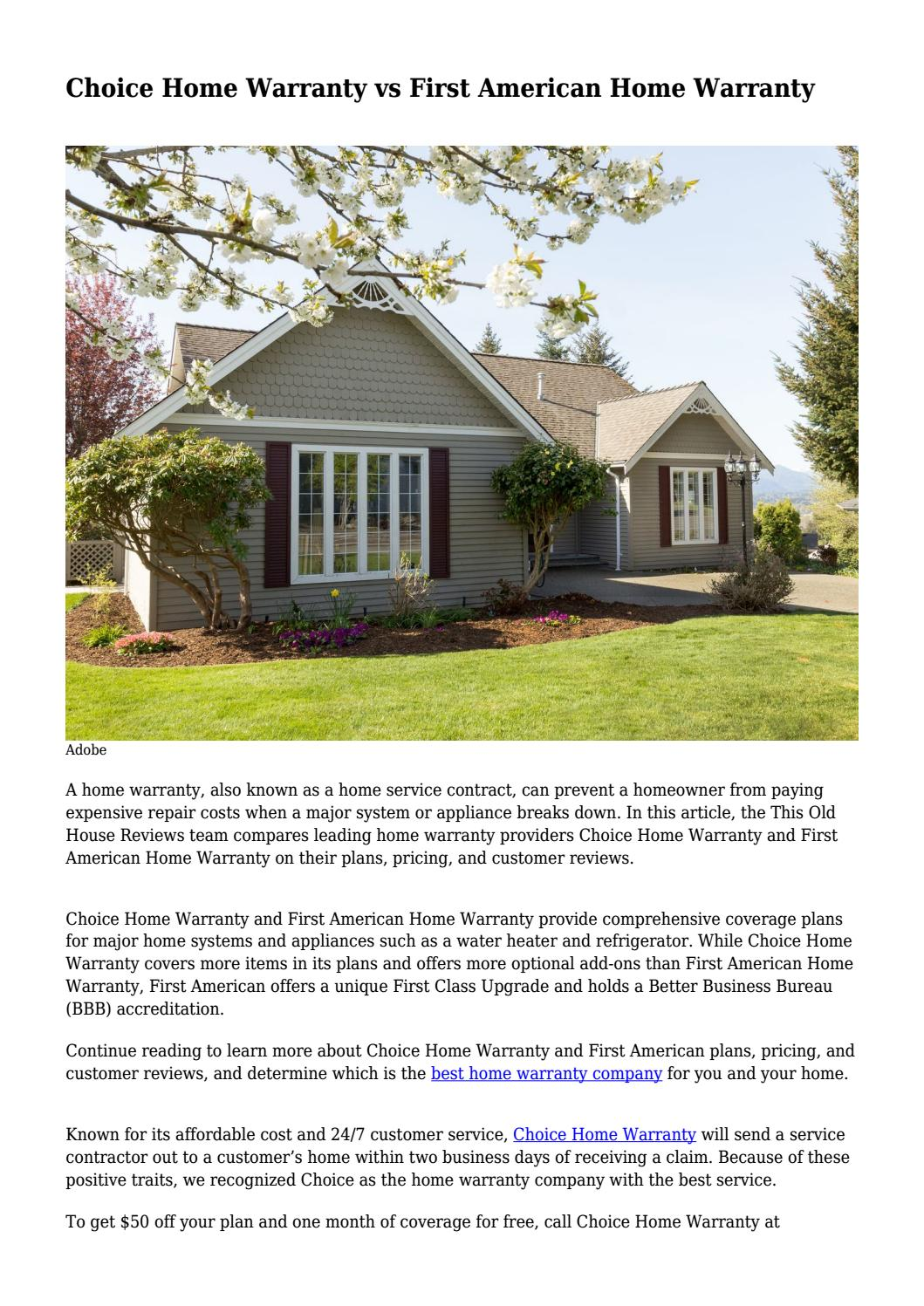 Choice Home Warranty Vs First American Home Warranty By Achwithed Issuu