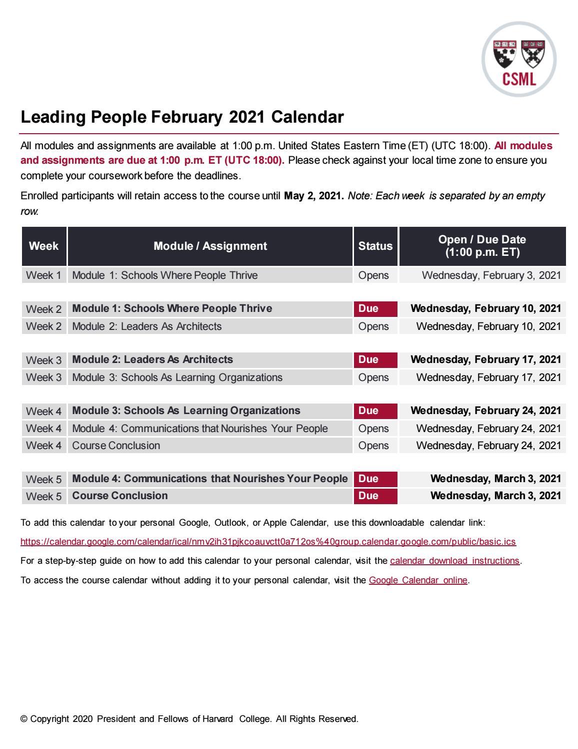 Utc 2021 Calendar Certificate in School Management and Leadership: Leading People