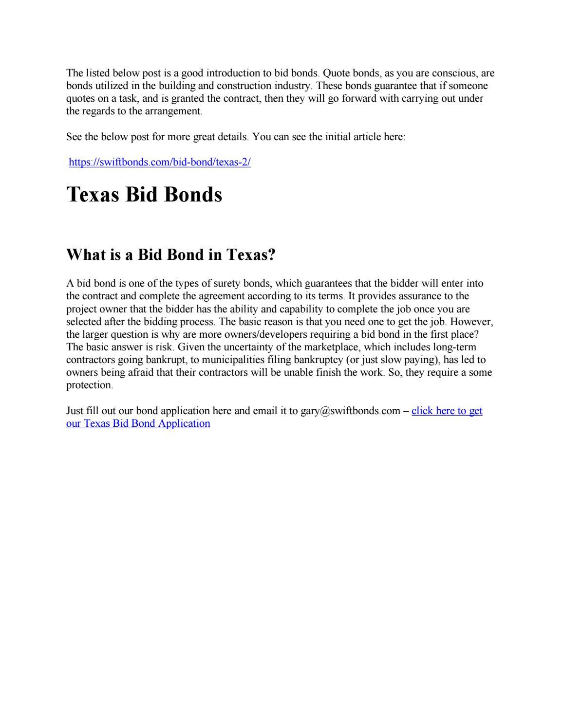 Texas Bid Bonds By Swiftbonds Issuu