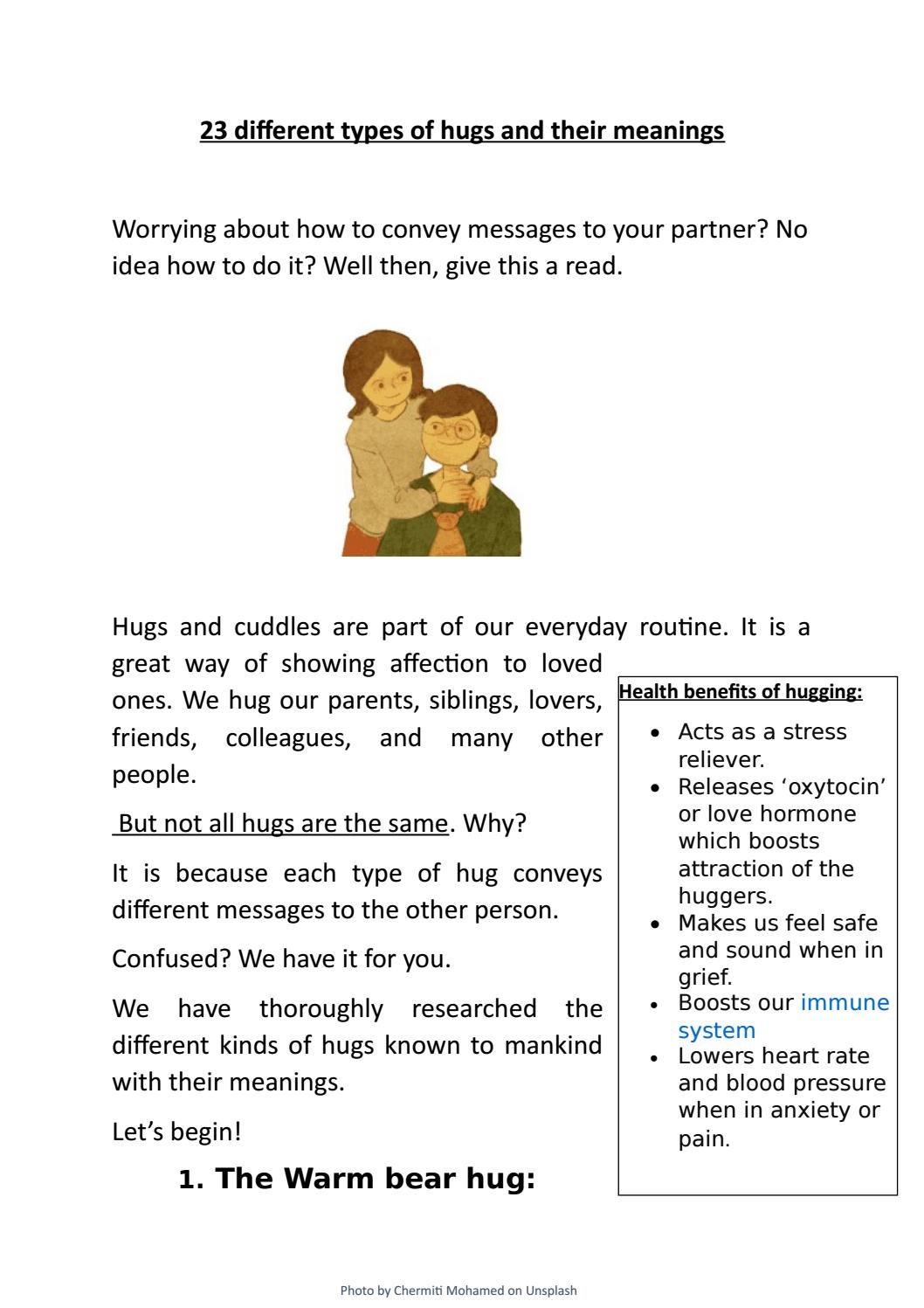 Hugs types and meanings of their 9 Different