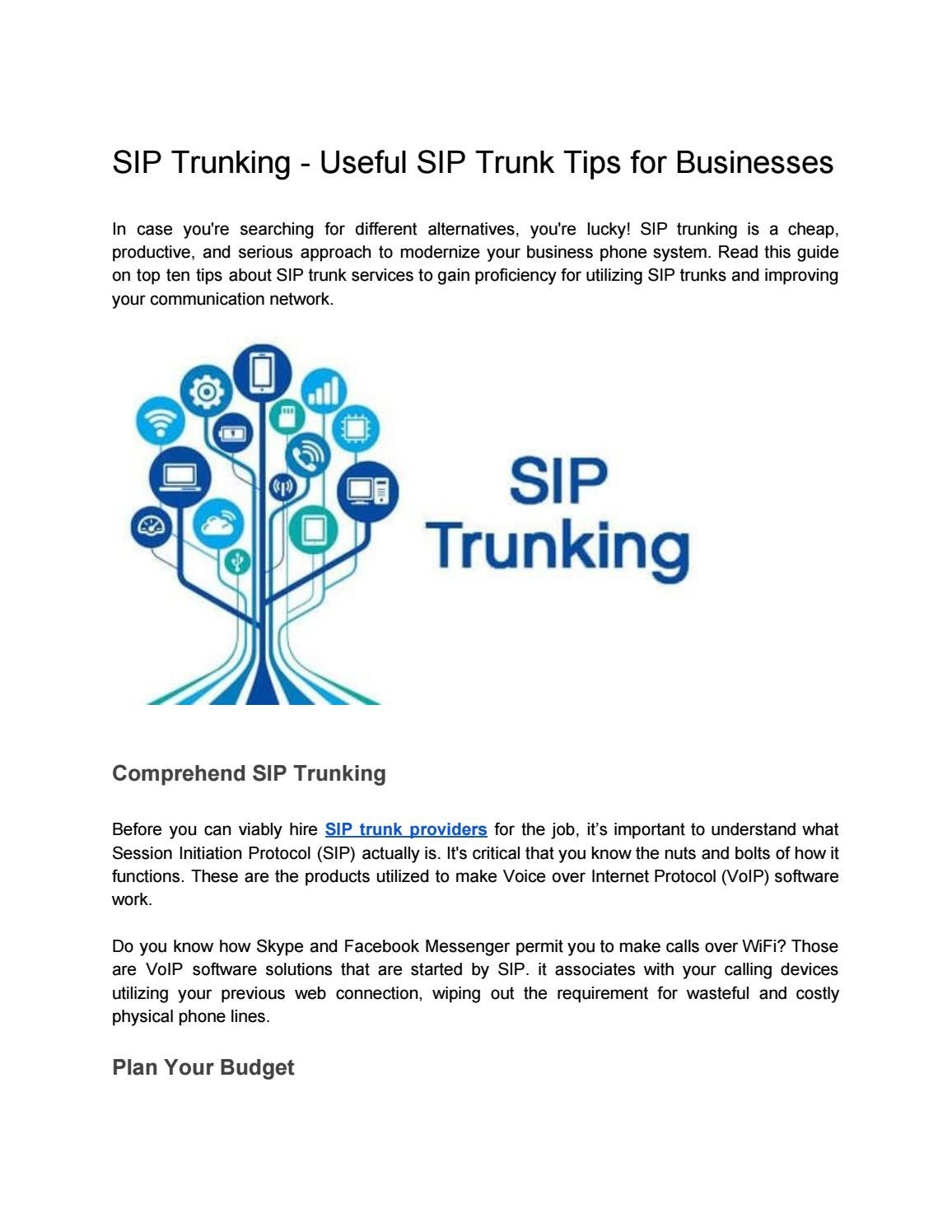 Useful SIP Trunk Tips for Businesses by Stephan James - issuu