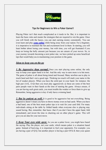 Tips For Beginners To Win A Poker Game By 99ceme Issuu