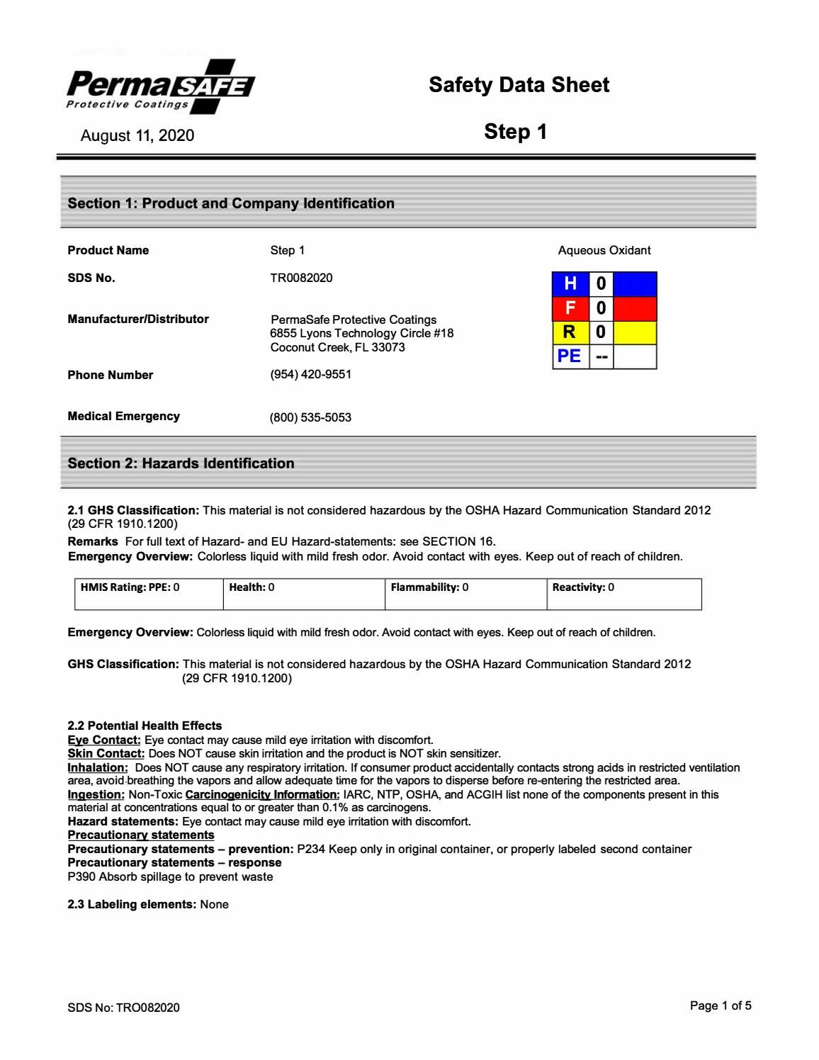 Permasafe Msds Sheets Step 1 Step 2 By Permasafe Issuu