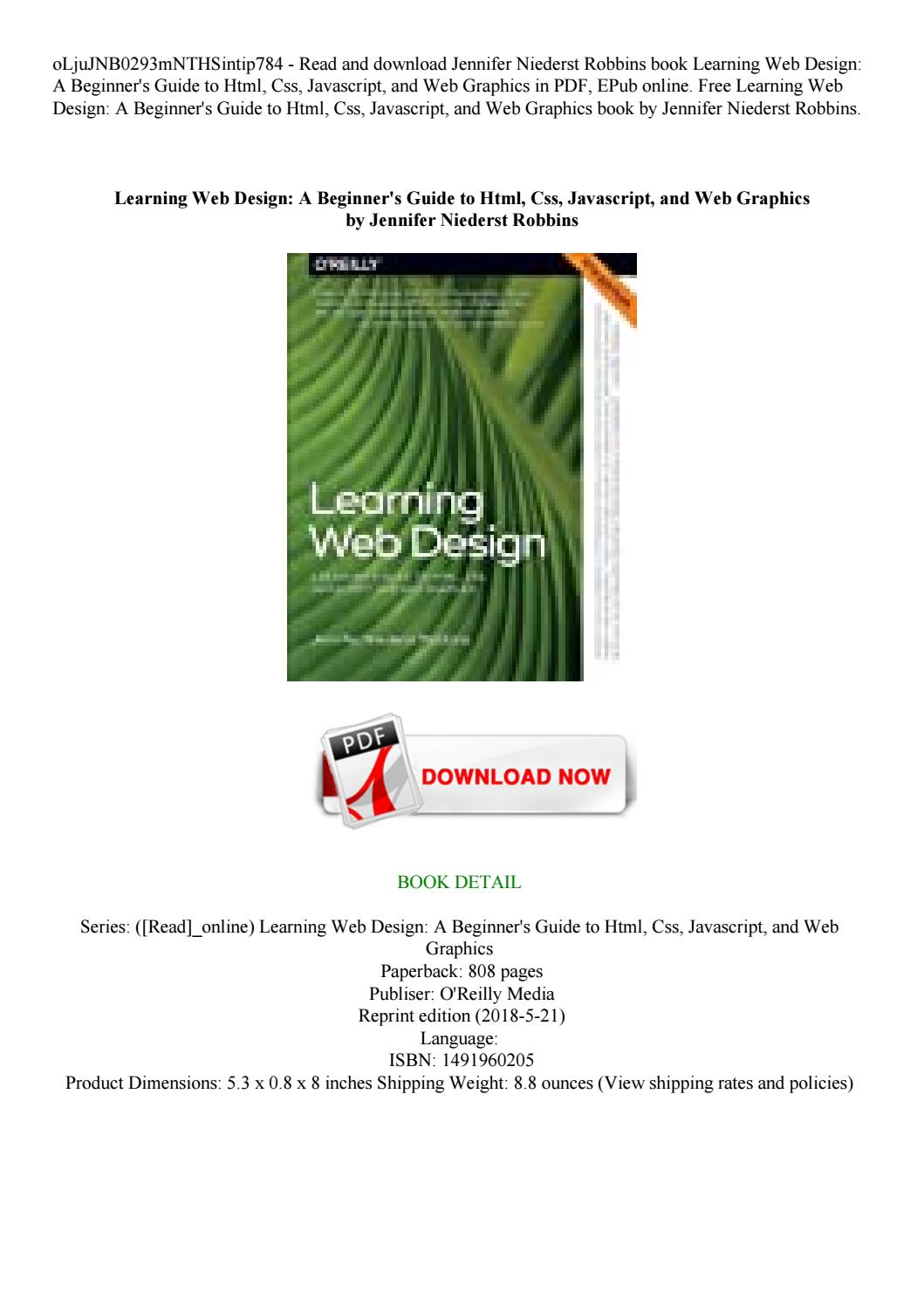 Read Online Learning Web Design A Beginner S Guide To Html Css Javascript And Web Graphics By Y5rtfhg68tufhcvb Issuu