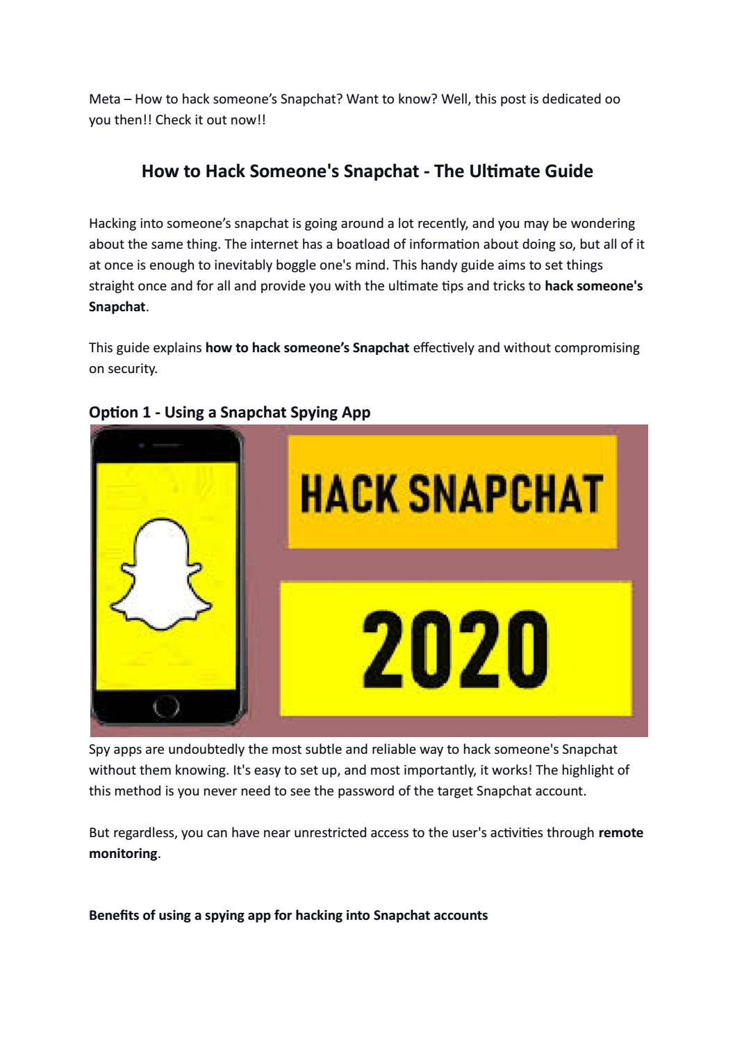 How To Hack Someones Snapchat By Andrea Lake Issuu
