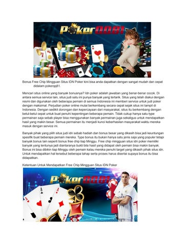Bonus Free Chip Mingguan Situs Idn Poker By Tselwhite81 Gmail Issuu