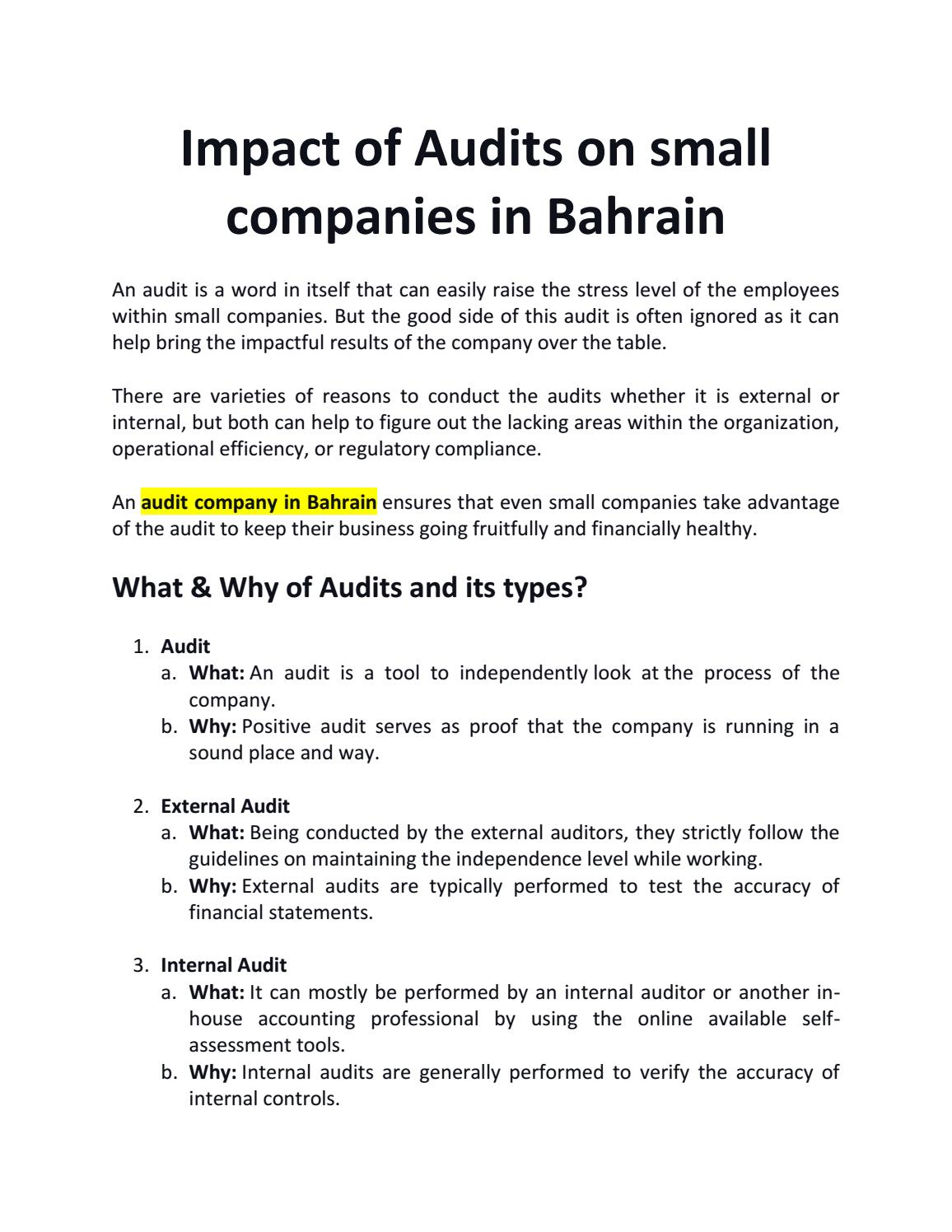 Impact Of Audits On Small Companies In Bahrain By Rtulsian Issuu