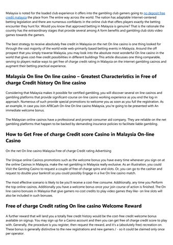 No Deposit Free Credit Online Casino Malaysia By R5gxvff782 Issuu
