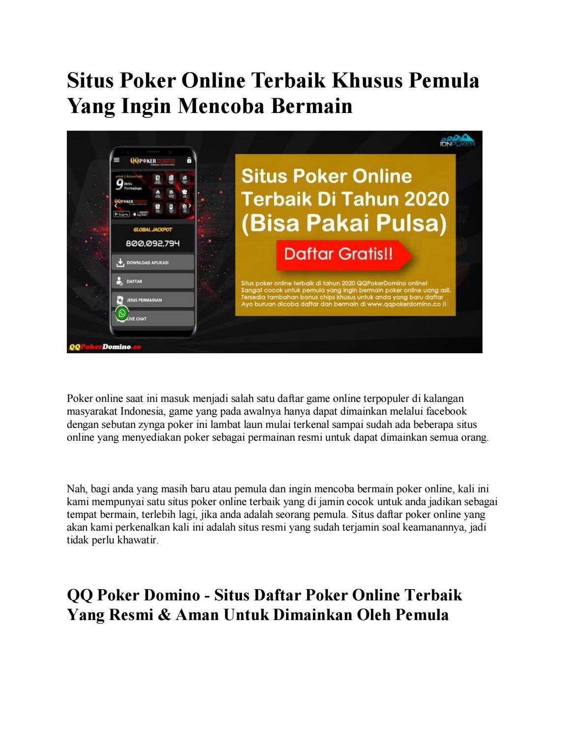 Poker Online Terbaik Di Tahun 2020 Bisa Pakai Pulsa By Idnpokerr99 Issuu