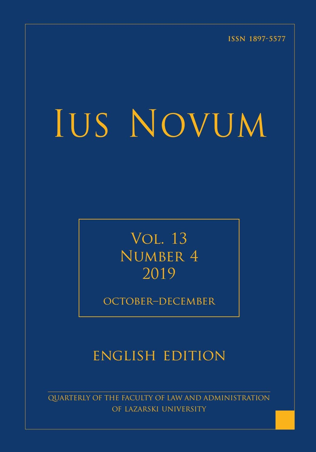 Ius Novum 4/2019 by Łazarski University Press - issuu