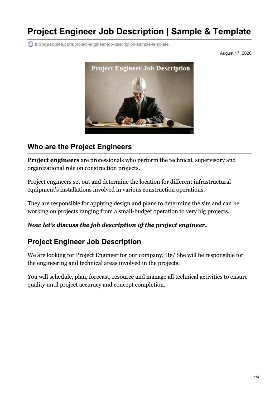 Project Engineer Job Description   Sample & Template PDF by Imran ...