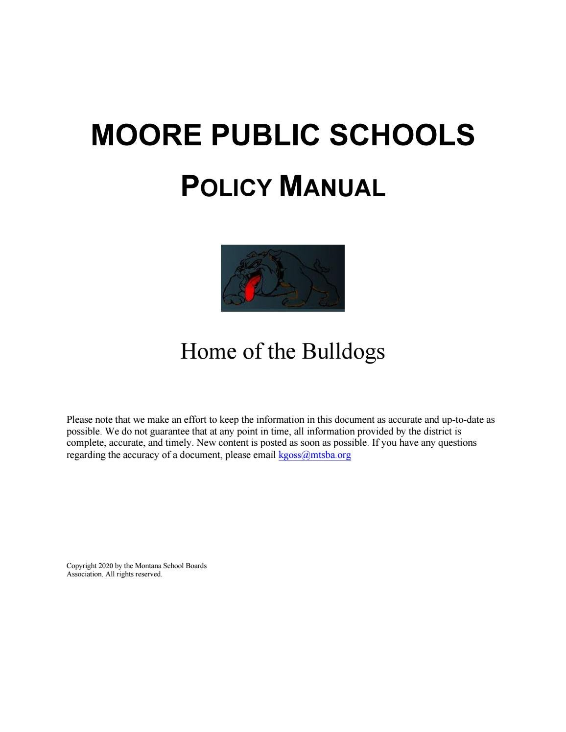 Moore Public Schools Policy Manual By Montana School Boards Association Issuu