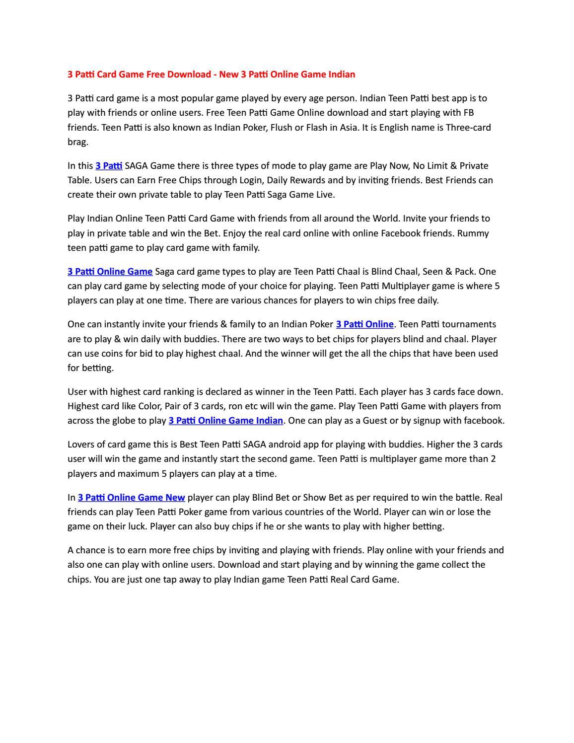 3 Patti Card Game Free Download New 3 Patti Online Game Indian By 3pattisaga Issuu