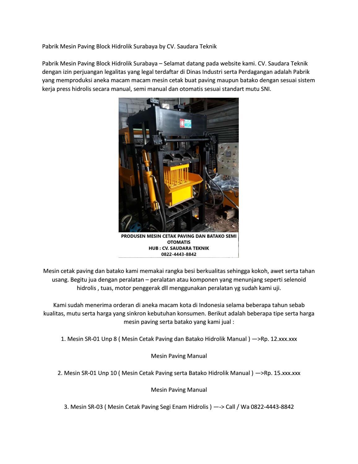 Call 082244438842 , Harga mesin paving block Tarakan, Harga mesin paving hidrolik Banjarbaru by ...