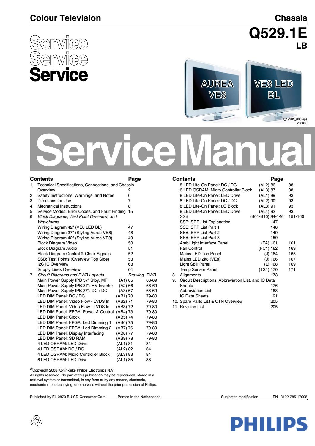 Philips 42PFL9803H Service Manual & Repair Guide – PDF DOWNLOAD by  heydownloads - issuu