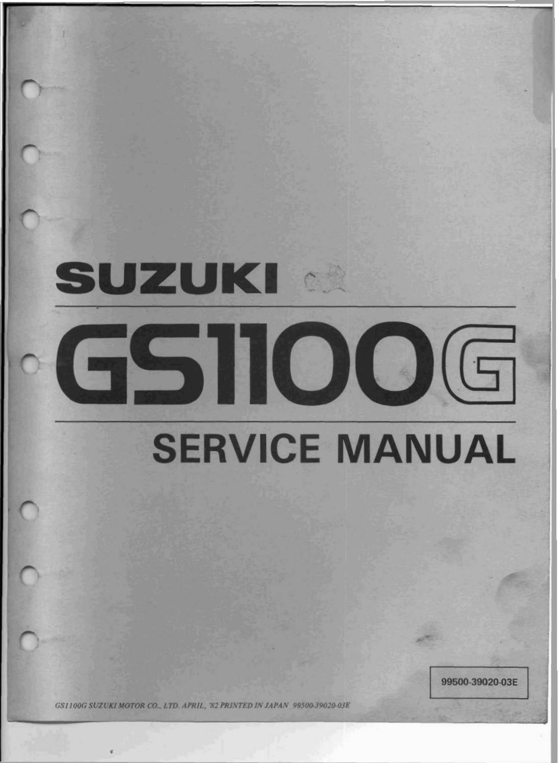 1982 1984 Suzuki Gs1100g Gs1100gl Gs1100gk Service Manual Pdf Download By Heydownloads Issuu