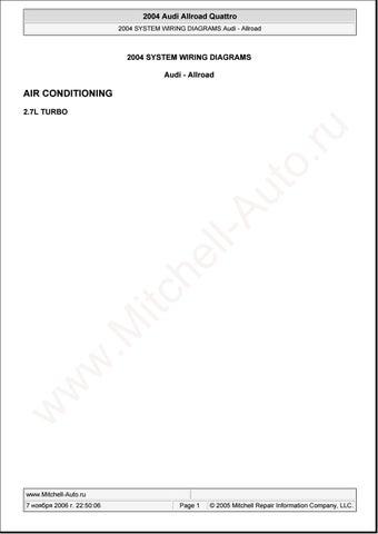 audi allroad quattro 2004 wiring diagram service repair