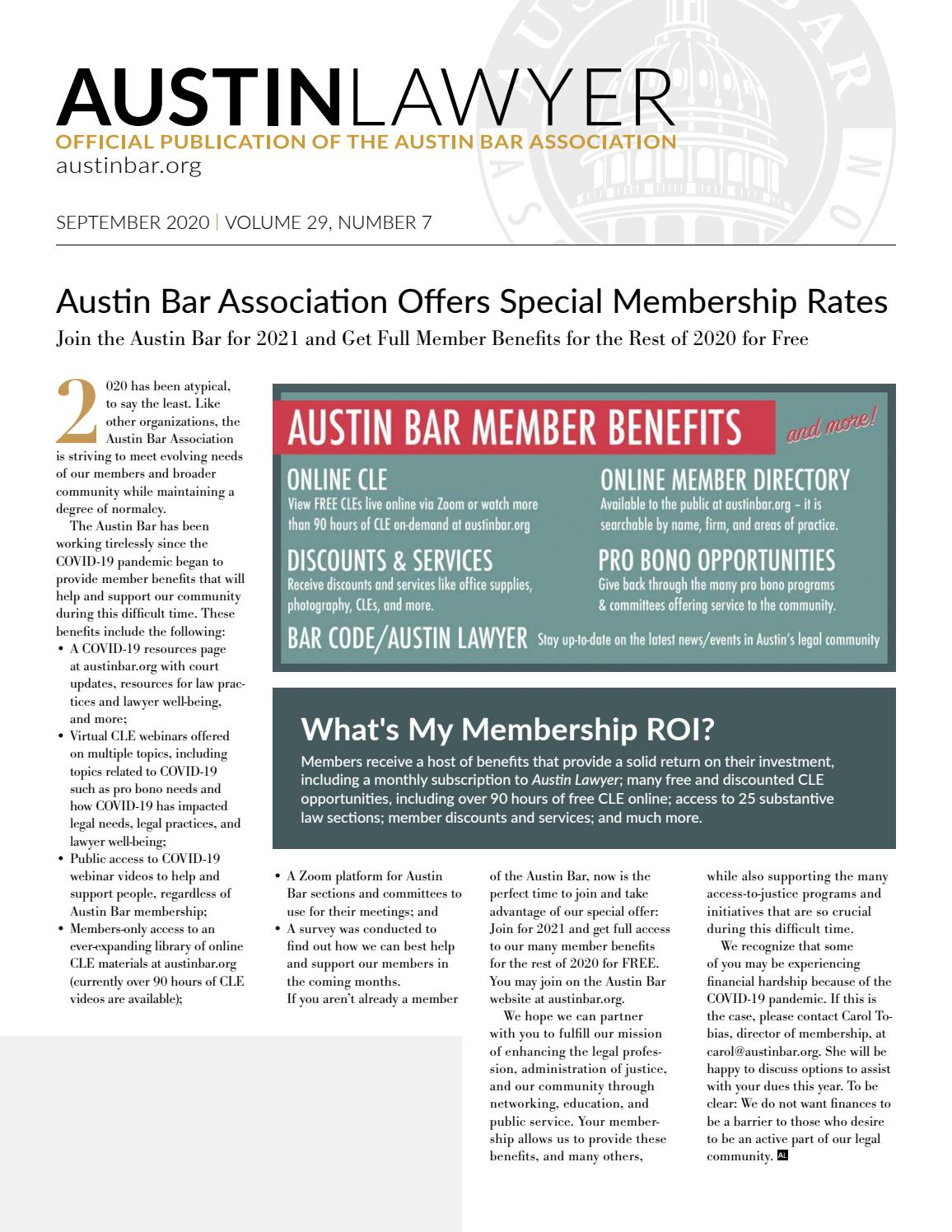 Austin Lawyer September 2020 By Austin Bar Association Issuu