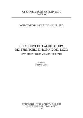 Gli Archivi Dell Agricoltura Del Territorio Di Roma E Del Lazio By Biblioteca Militare Issuu