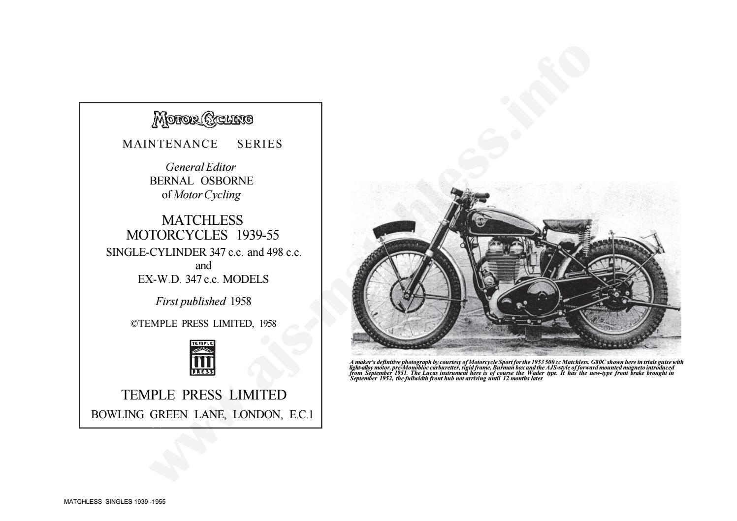 Matchless 1939 1955 Work Service