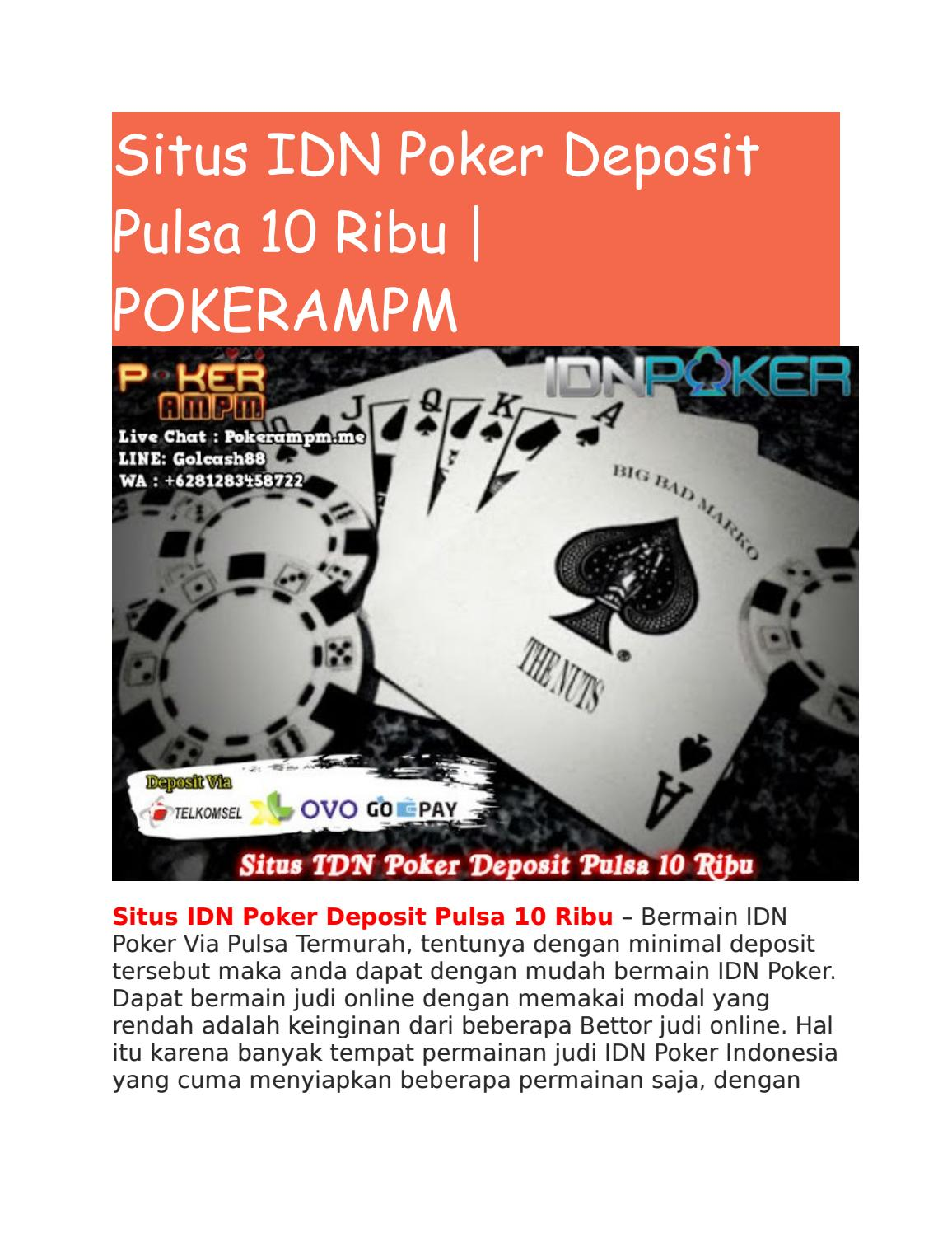 Situs Idn Poker Deposit Pulsa 10 Ribu Pokerampm By Pokerampmm Issuu