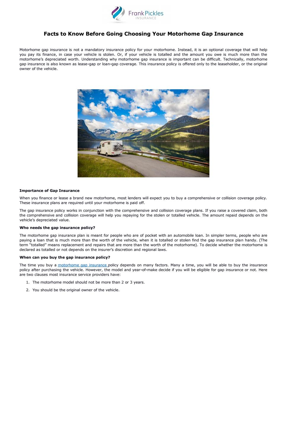 Facts To Know Before Going Choosing Your Motorhome Gap Insurance By Frankpickles Issuu