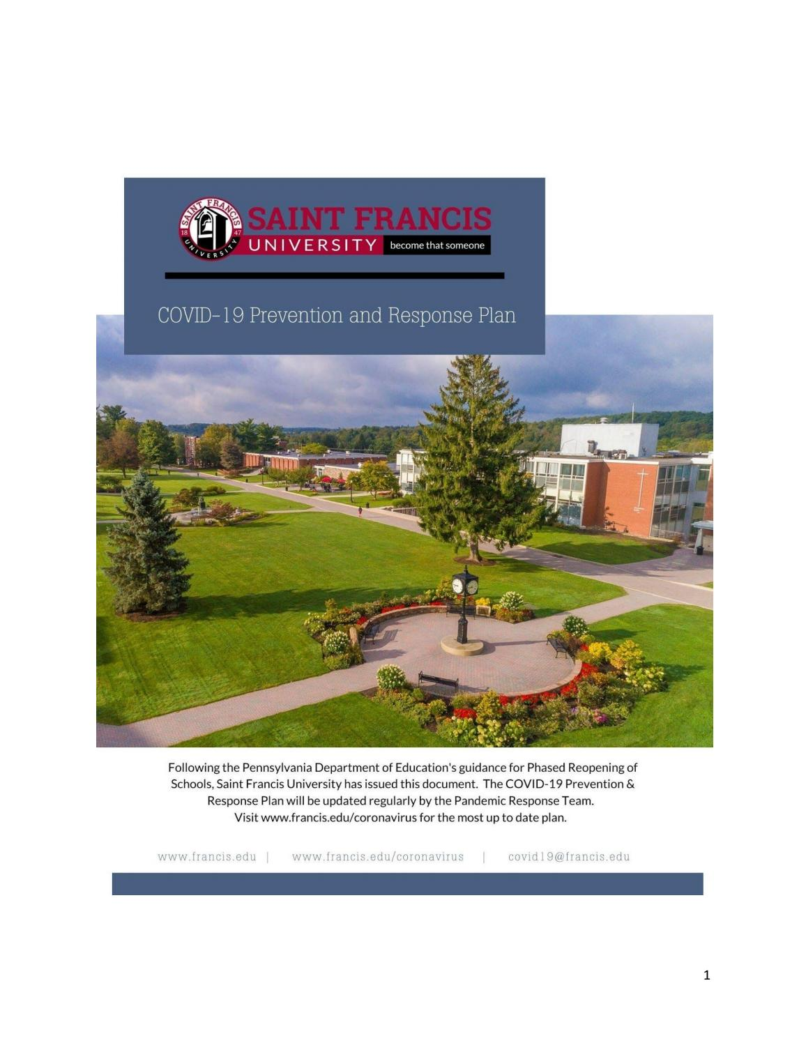 Saint Francis University Academic Calendar 2021-2022 Background