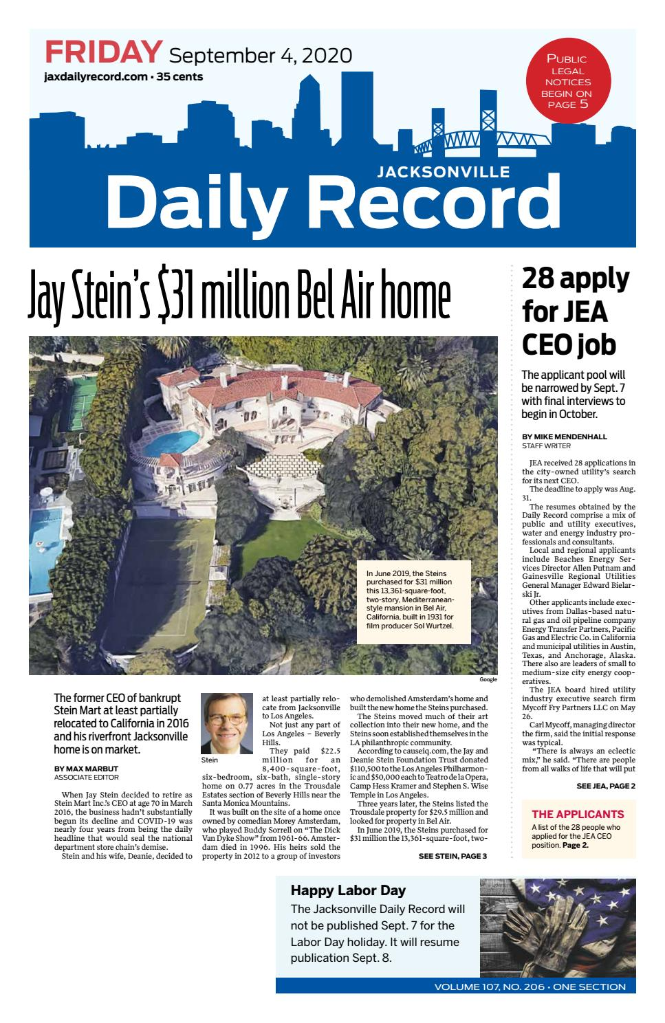 Jacksonville Daily Record 9 4 20 By Daily Record Observer Llc Issuu