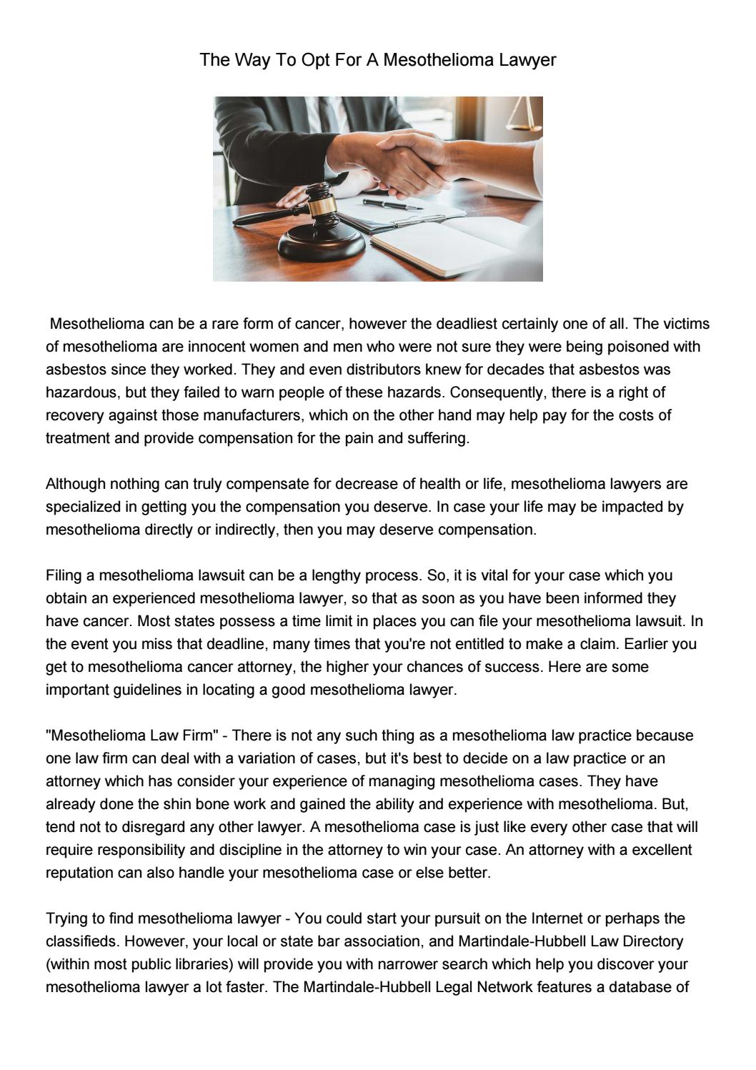 The Way To Opt For A Mesothelioma Lawyer By Debra Issuu