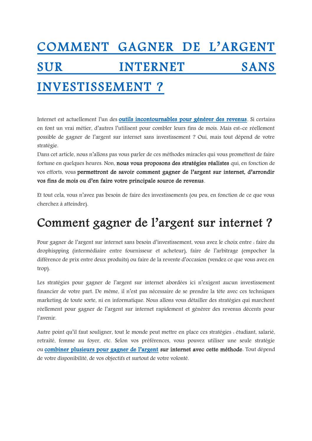 comment faire de l argent sur internet sans investir