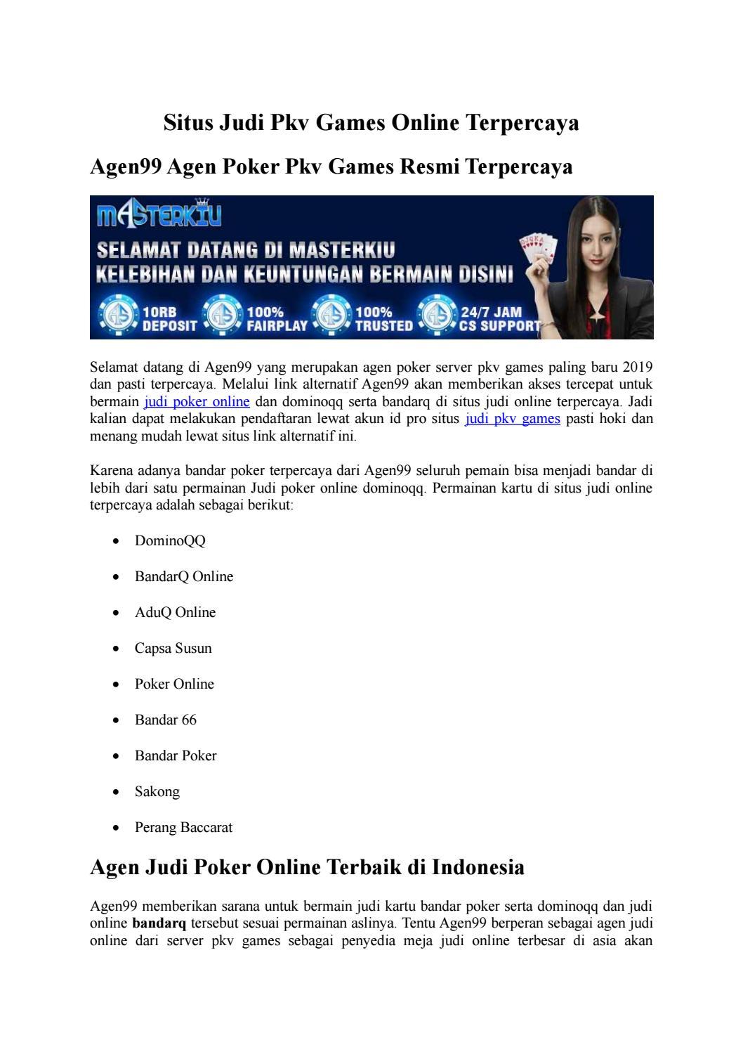 Situs Judi Pkv Games Online Terpercaya By Bandardominoqq Issuu