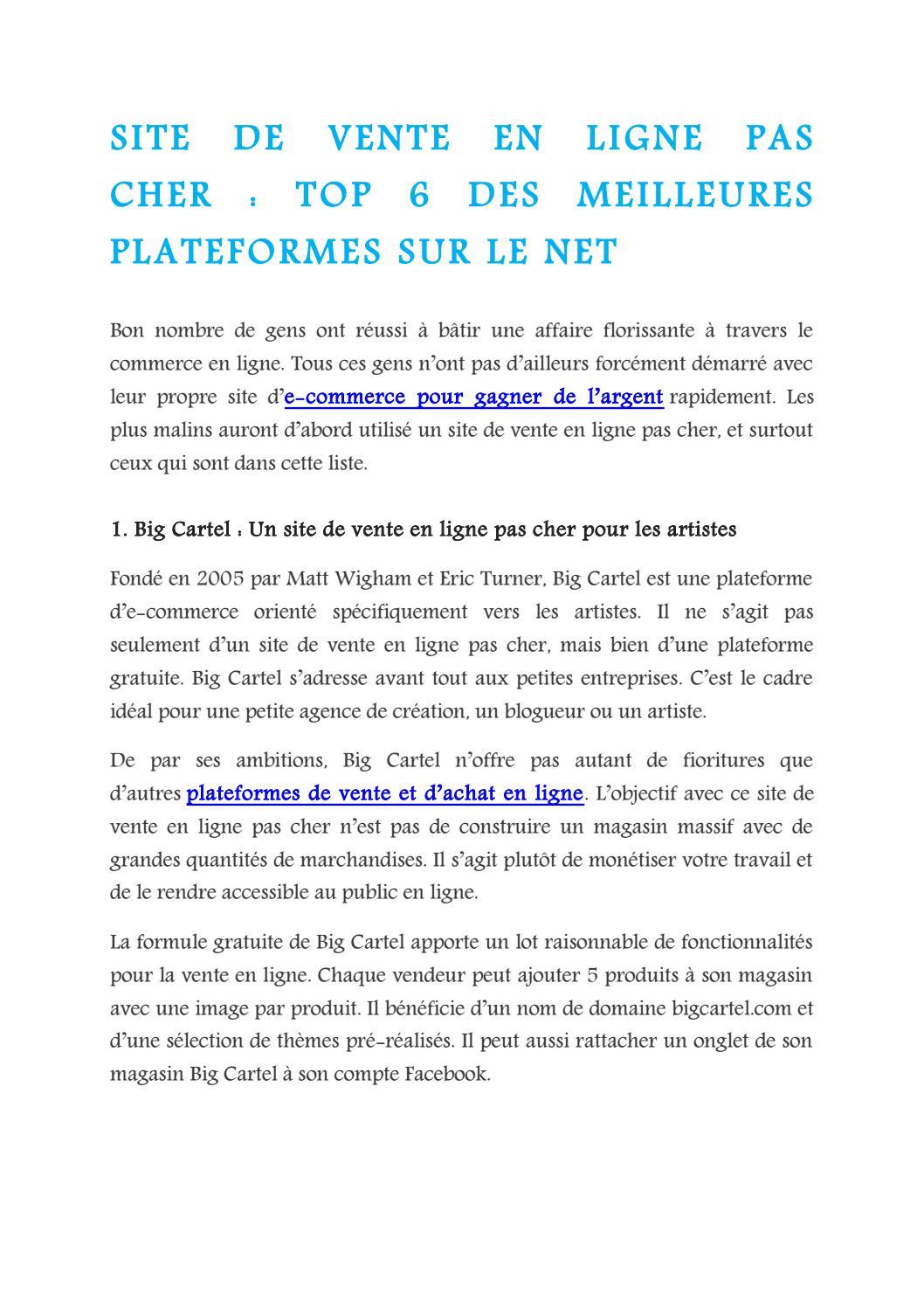 Site De Vente En Ligne Pas Cher Top 6 Des Meilleures Plateformes Sur Le Net By Money Hack Issuu