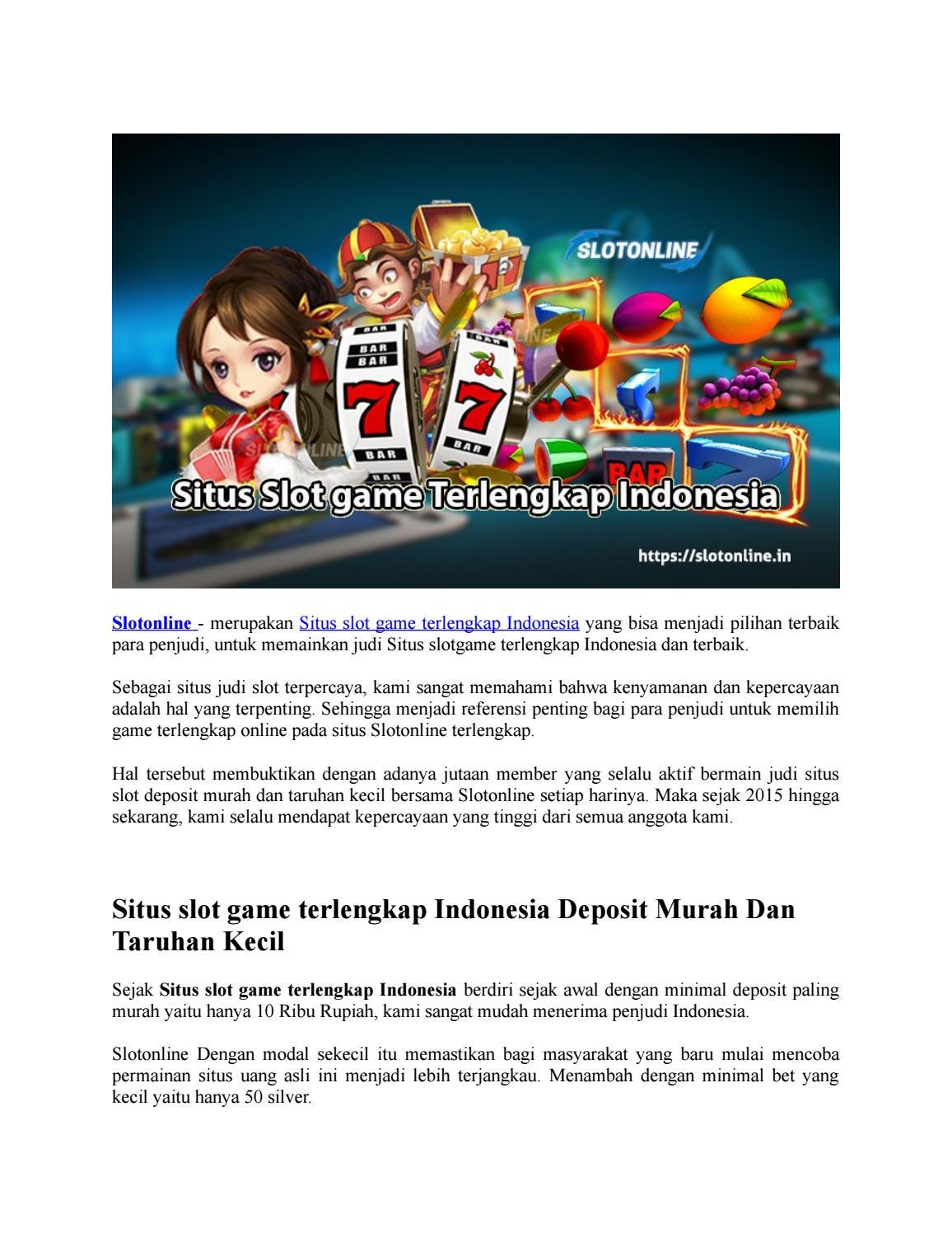 Situs Slot Game Terlengkap Indonesia By Slot Online Indonesia Issuu