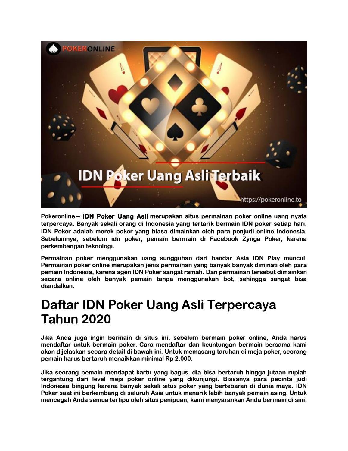 Idn Poker Uang Asli Terbaik Dan Terpercaya Diindonesia By Poker Online Issuu