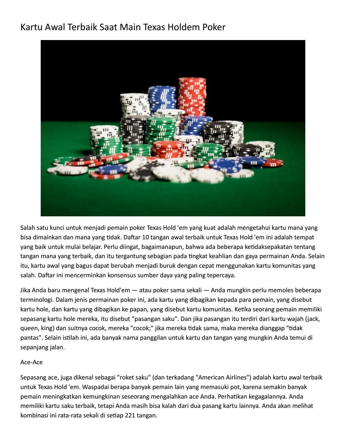 Kartu Awal Terbaik Saat Main Texas Holdem Poker By Pokerterus Issuu