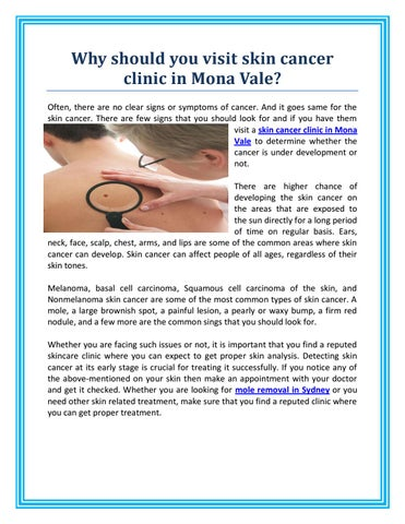 Why Should You Visit Skin Cancer Clinic In Mona Vale By Skin Cancer Doctor Issuu