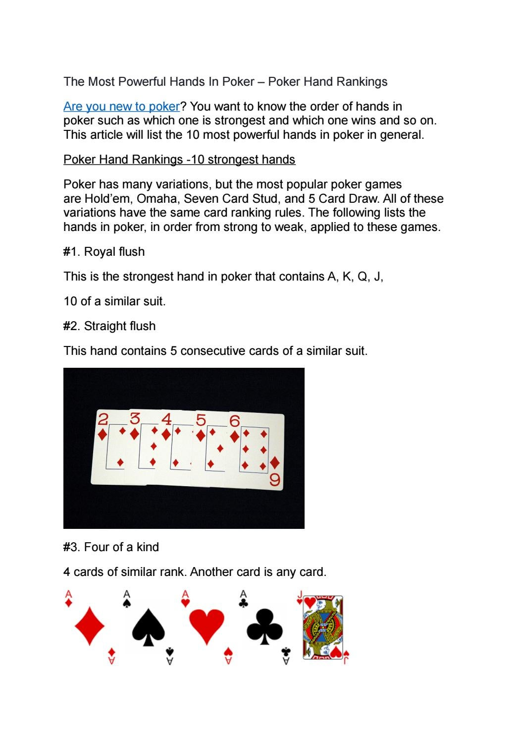 The Most Powerful Hands In Poker Poker Hand Rankings By Gogbetsg Online Casino Singapore Issuu