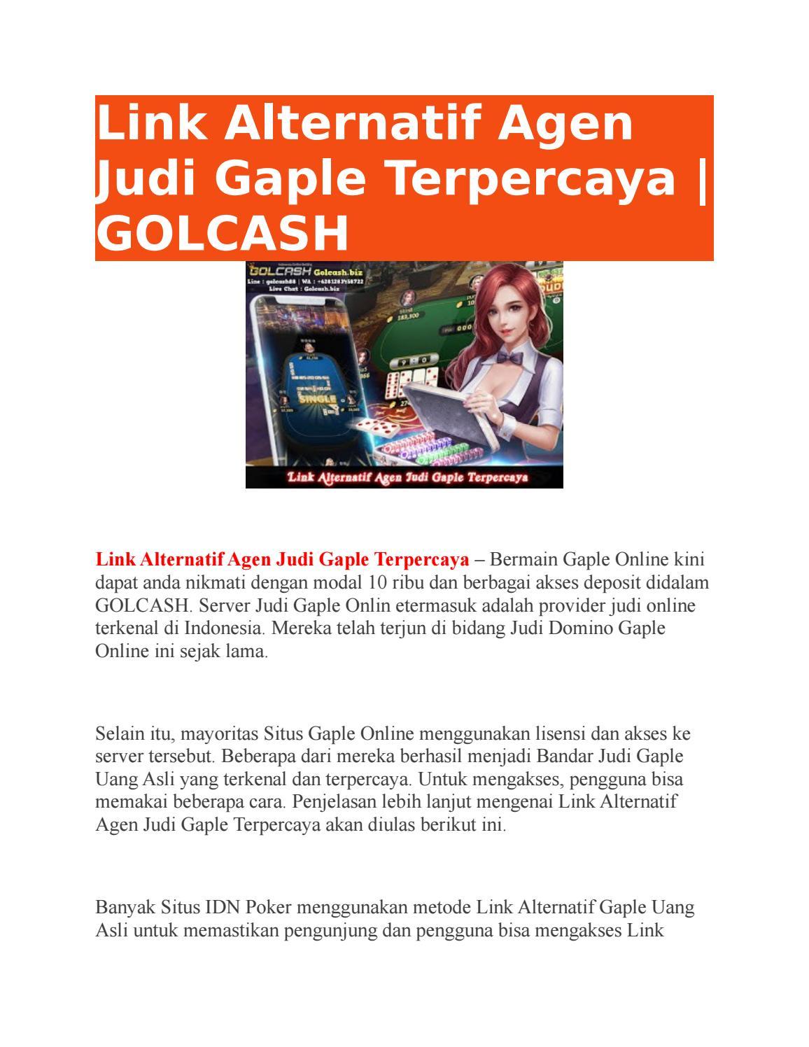 Link Alternatif Agen Judi Gaple Terpercaya Golcash By Golcash Issuu