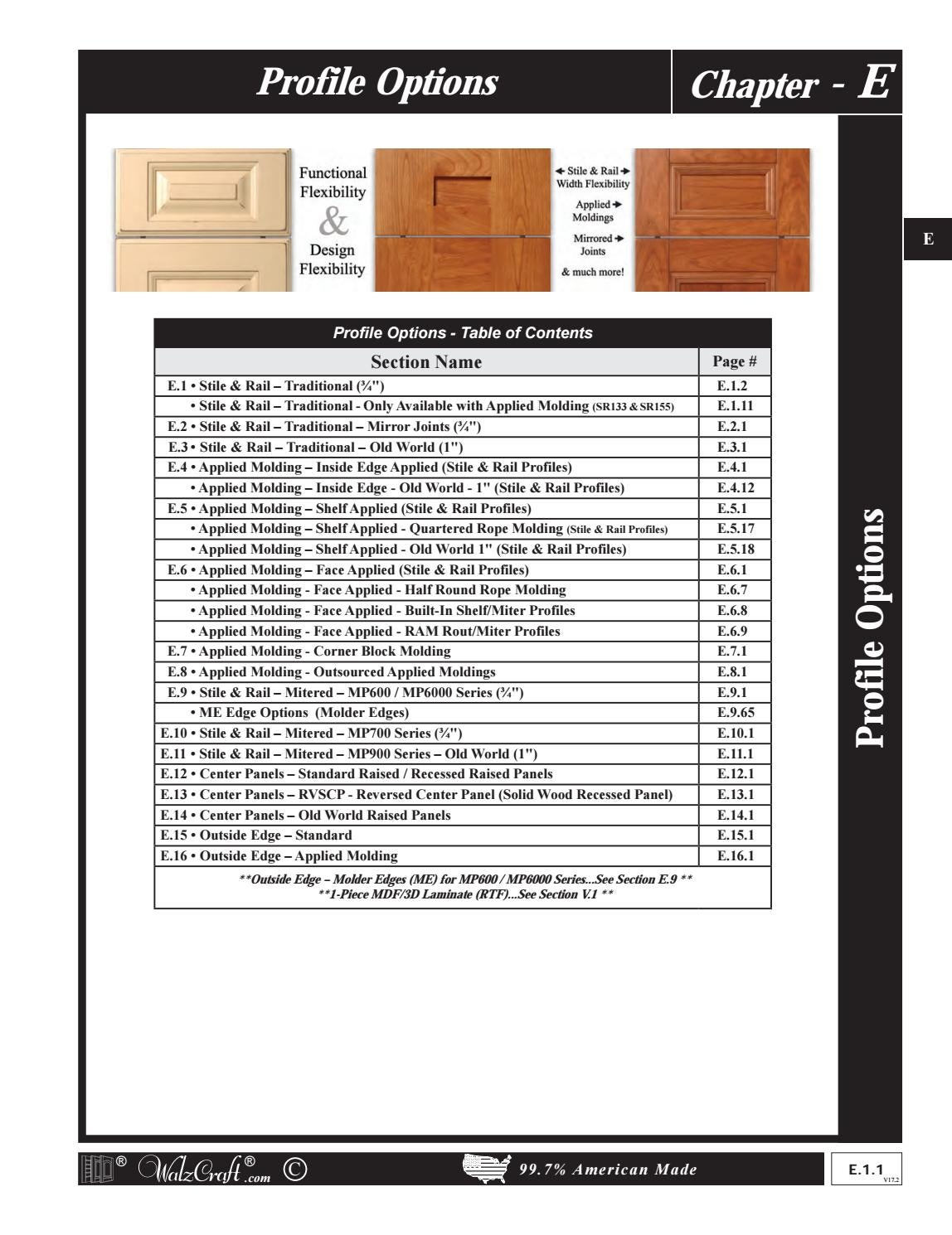 Chapter E Walzcraft Profile Options For Custom Cabinet Doors By Walzcraft Issuu