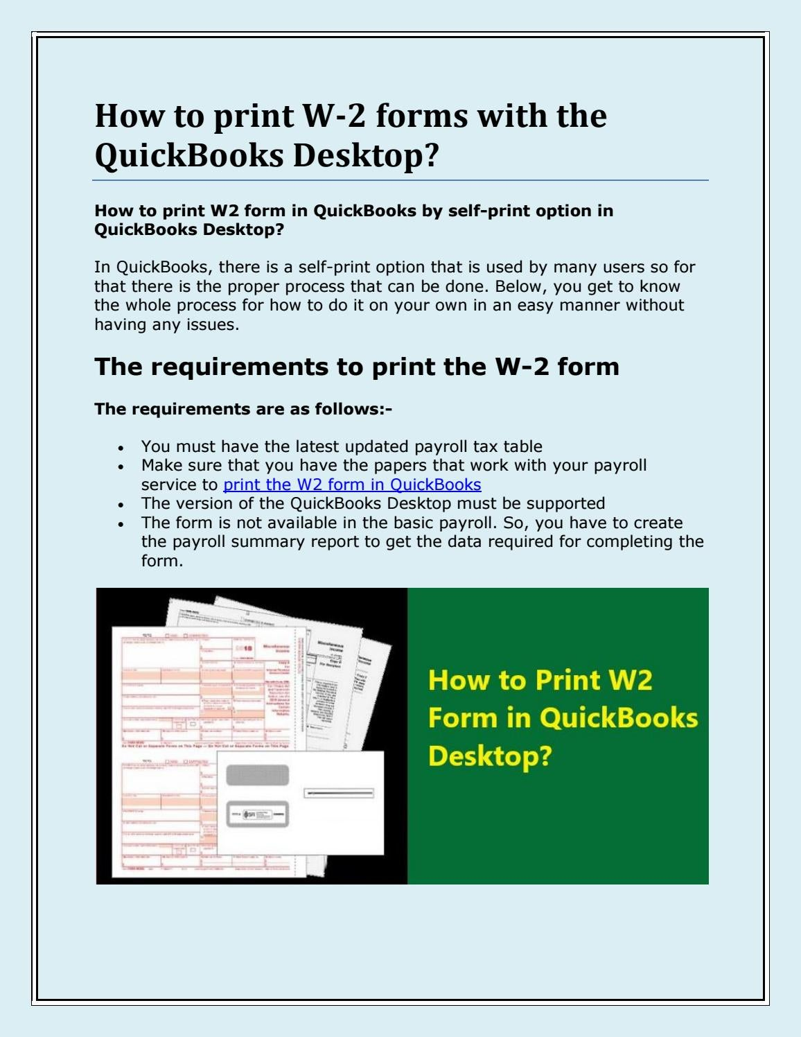 How to print W2 Form in QuickBooks Desktop 2020? by Mason ...
