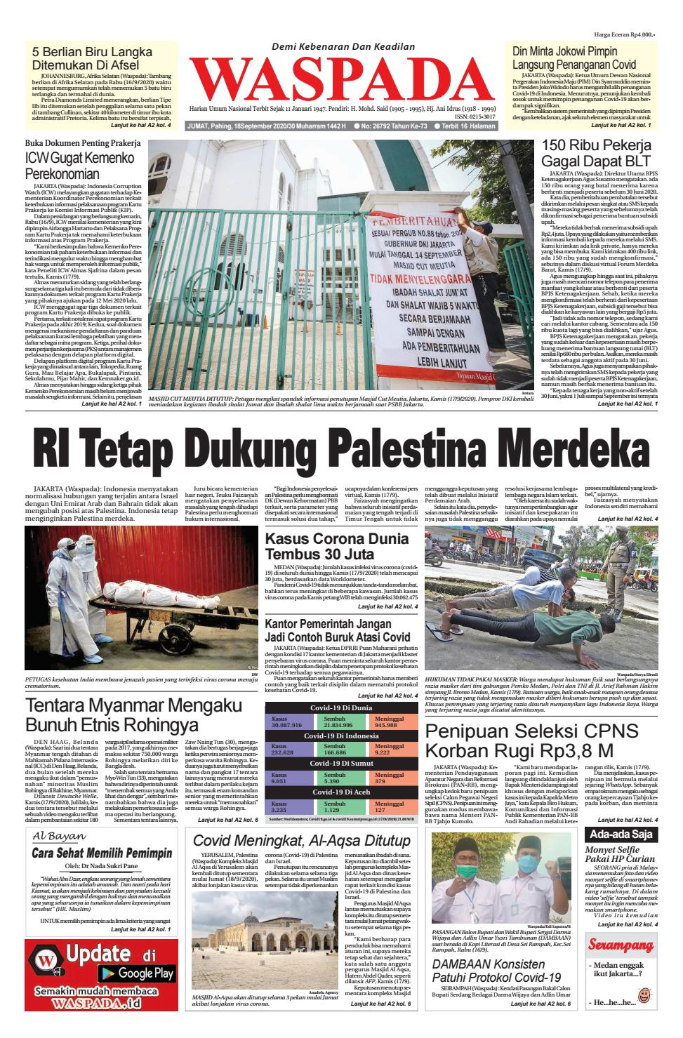 Waspada Jumat 18 September 2020 By Harian Waspada Issuu
