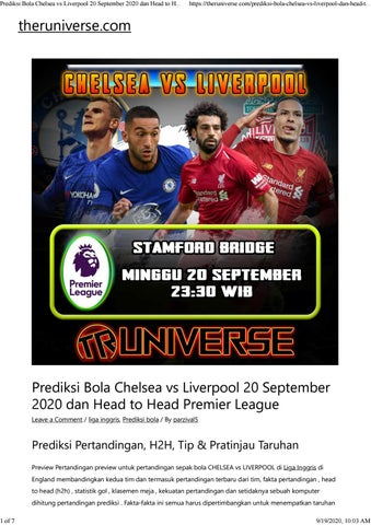 Prediksi Bola Chelsea Vs Liverpool 20 September 2020 Dan Head To Head Premier League By Intan Kusuma Issuu