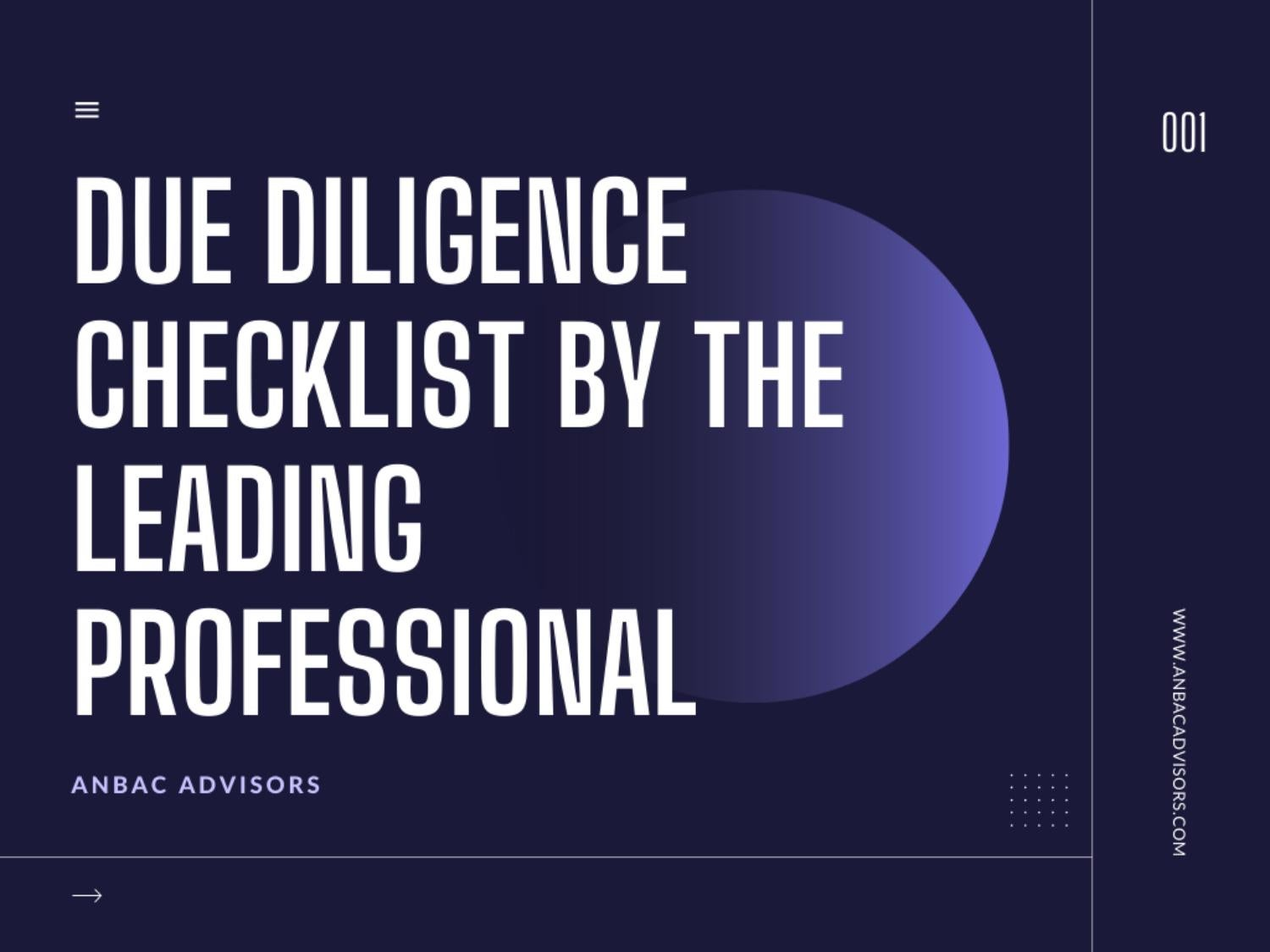Due diligence checklist by the leading professional
