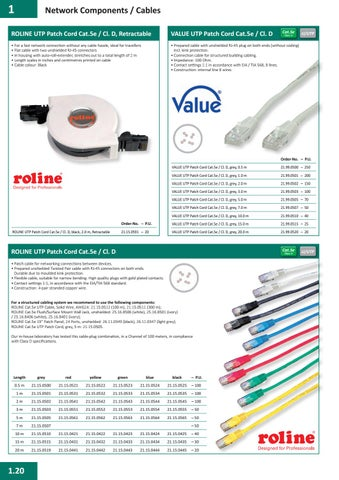 Roline Utp Cable Cat 5E red red 0.5m