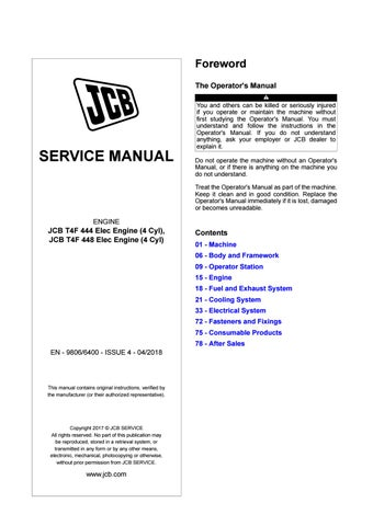 Jcb Engines Ecomax 4 Cylinder Tier 4 Final Sj Dj Service Manual Pdf Download By Heydownloads Issuu