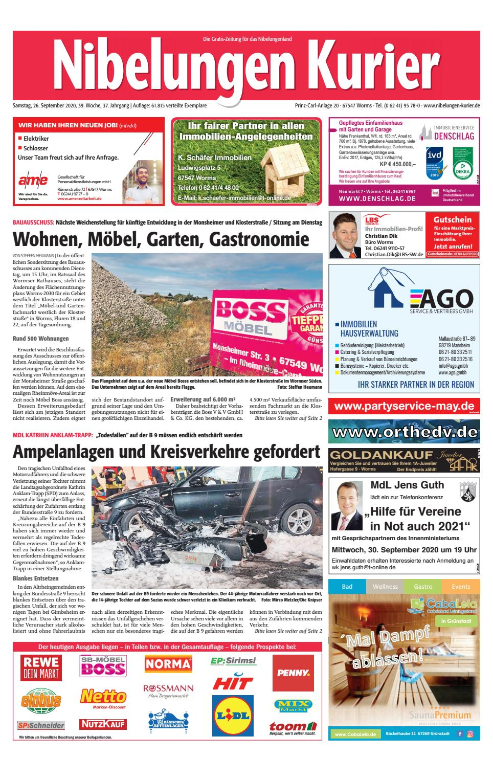 Samstag 26 September 2020 39 Woche By Nibelungen Kurier Issuu