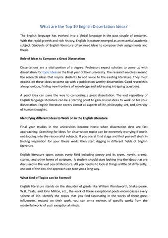 English dissertation ideas styles of creative writing