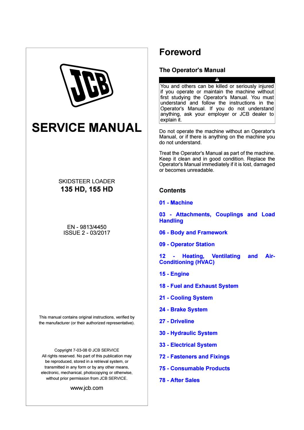 JCB Skidsteer Loader 135 HD, 155 HD Service Manual Download JCB 135 HD, 155  HD – PDF Download by heydownloads - issuuIssuu