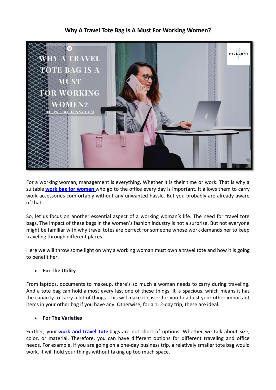 Why A Travel Tote Bag Is A Must For Working Women By Millenny1 Issuu
