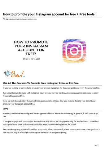 How To Promote Your Instagram Account For Free Free Tools By Aigrow Issuu